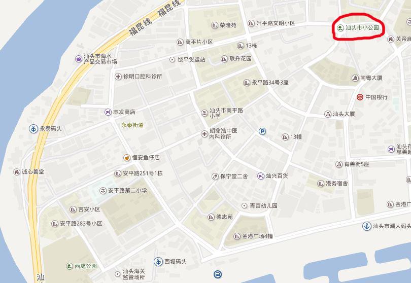 汕头市小公园开埠区(汕头老城)地图