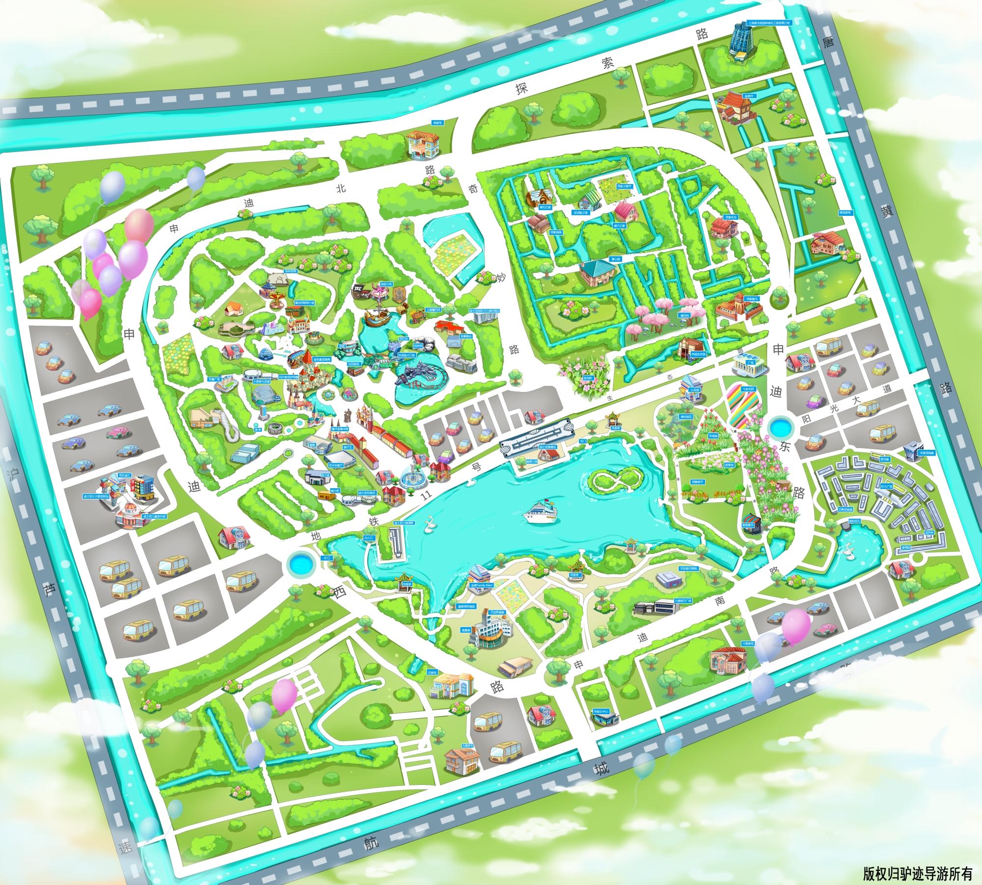 上海迪士尼乐园手机导游【全景地图,园内导航,线路推荐,自动讲解】