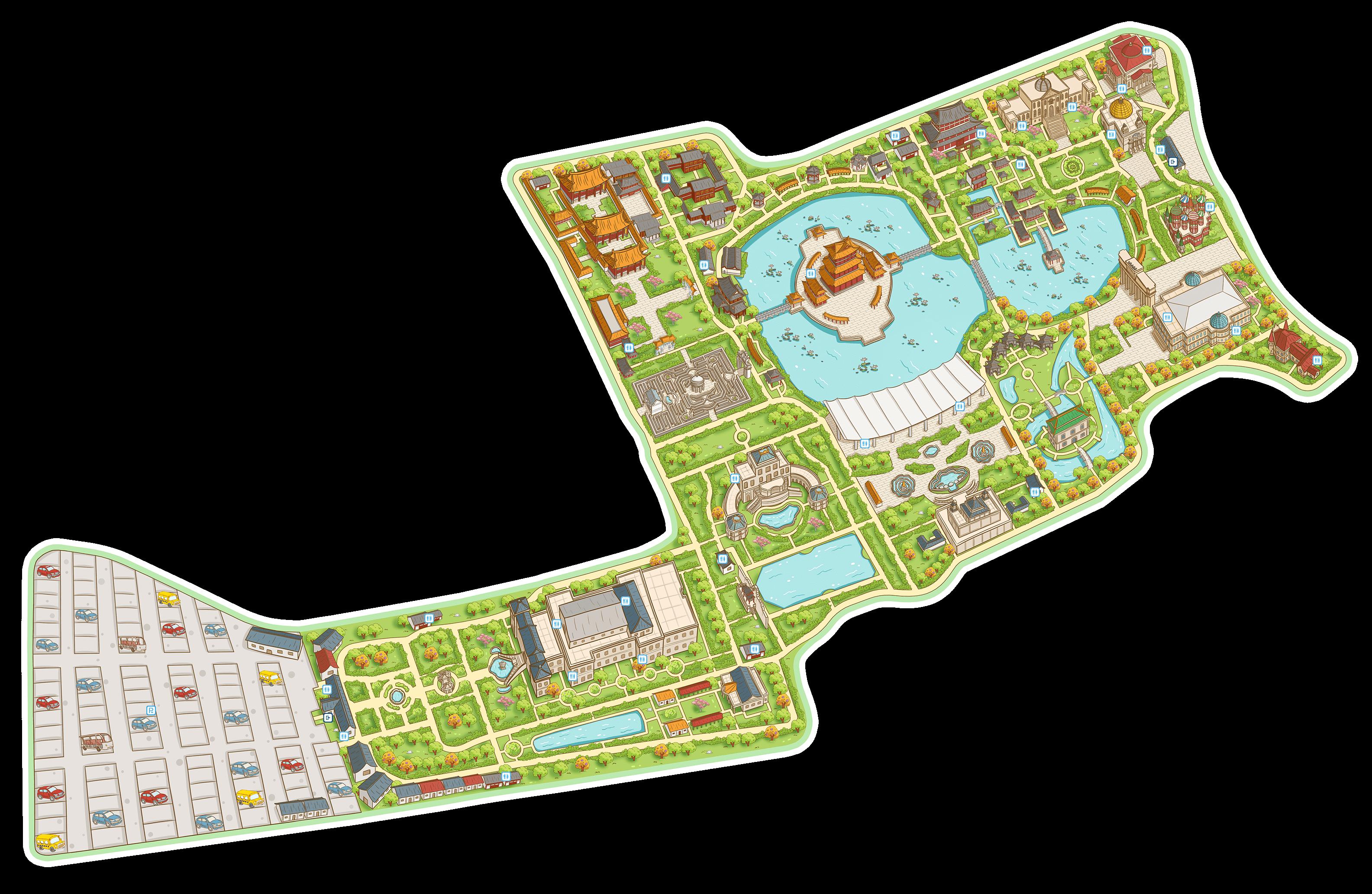 【产品特色】 ①精美手绘地图,极速展现景区全貌 ②景点清晰标注