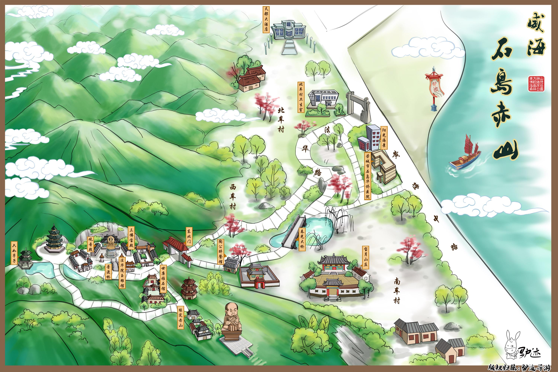 威海石岛赤山手机导游【全景地图,园内导航,线路推荐