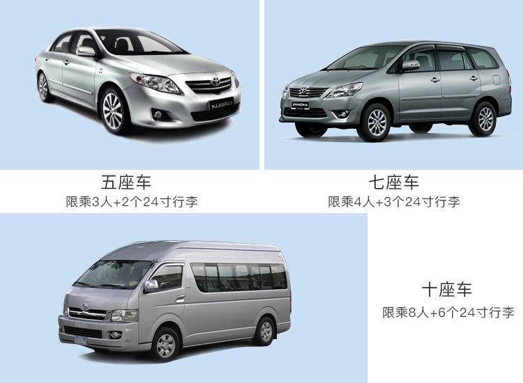 七座车:参考车型2:丰田innova, fortuner, 本田crv等或同级 1-5座