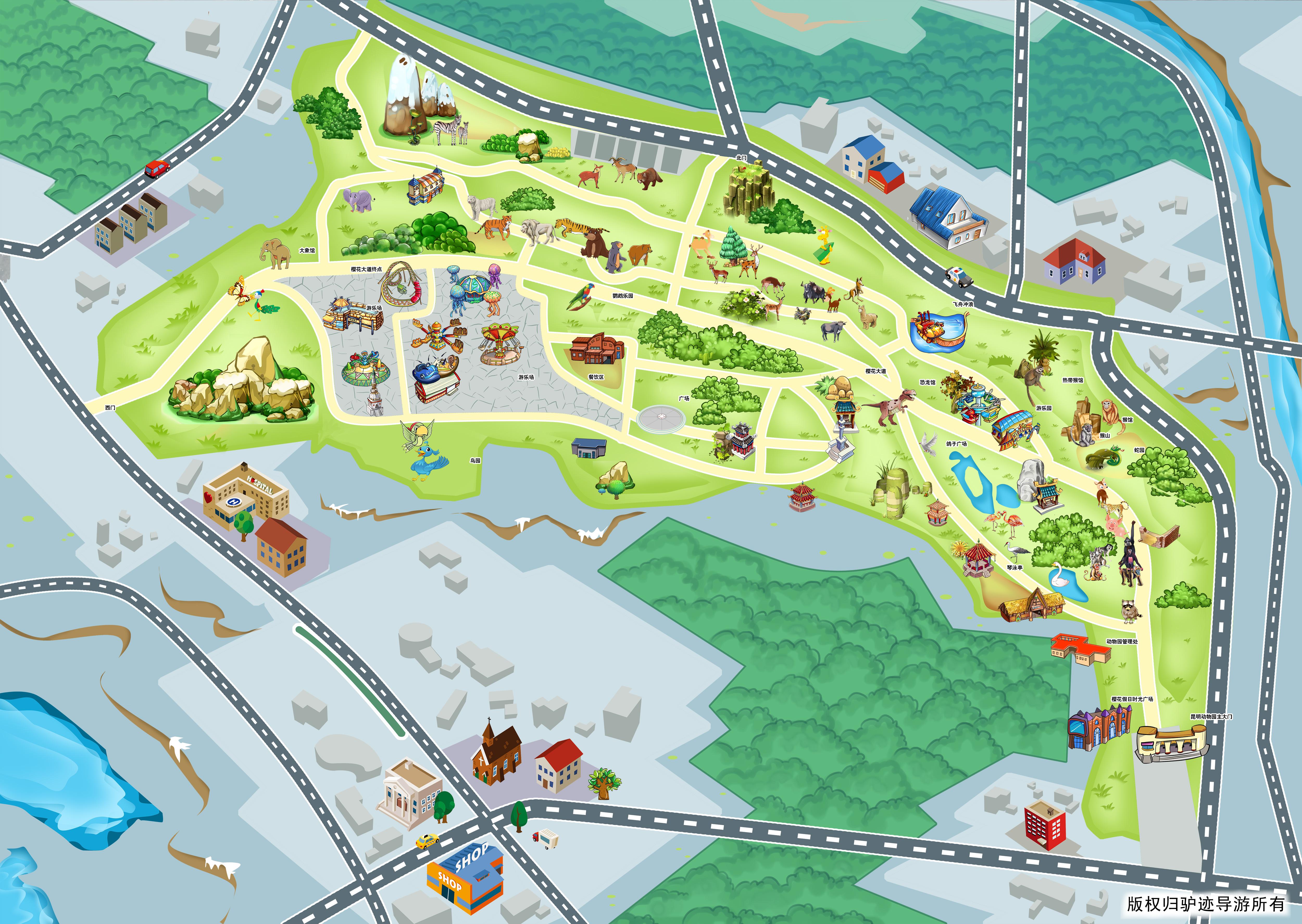昆明动物园手机导游【全景地图,园内导航,线路推荐,自动讲解】