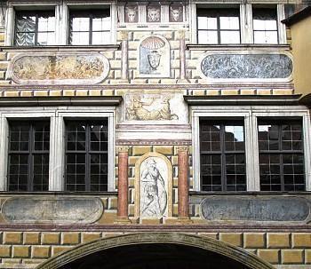 欧式罗马窗户的墙绘图片