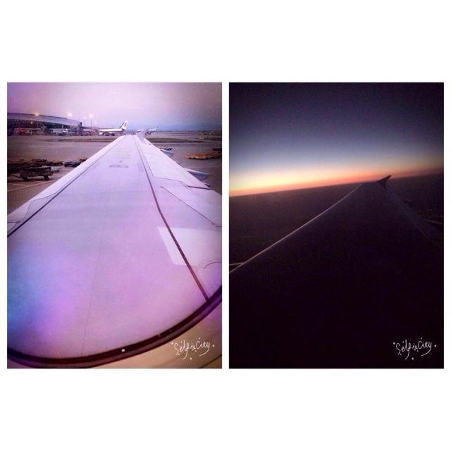 由于是下午机可以在飞机上看到日落的色彩离天空又近了一步