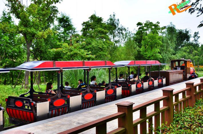 儿童森林嘉年华区域是公园内最热闹的,可以乘坐小火车,玩各种的游乐