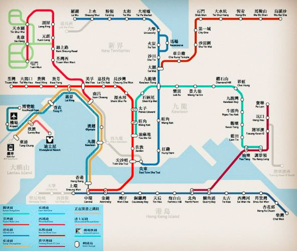 香港地铁_                 香港地铁线路图